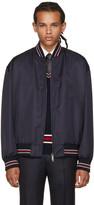 Brioni Navy Silk Bomber Jacket