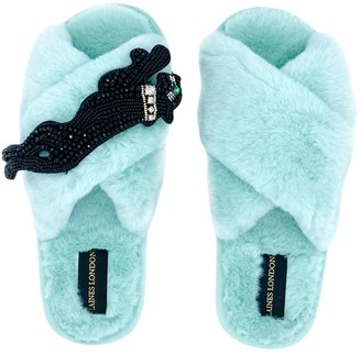 Laines London Ice Blue Fluffy Slippers With Jet Panther