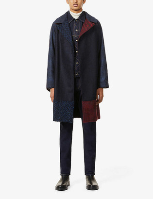 Ermanno Gallamini Contrast-panel wool and alpaca-blend coat