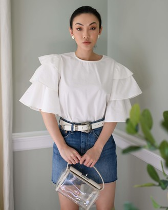 The Drop Women's Cloud White Crewneck Tiered ruffle Sleeve Top by @jessicawang XS
