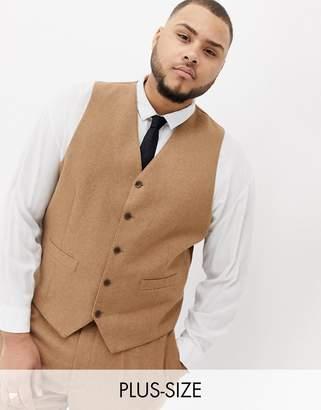 Gianni Feraud Plus slim fit wool blend waistcoat-Brown