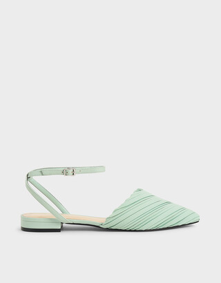 Charles & Keith Pleated Ankle Strap Flat Court Shoes