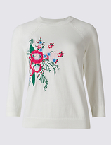 M&S Collection Cotton Blend Embroidered Round Neck Jumper
