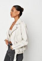 Missguided Cream Faux Leather Oversized Biker Jacket