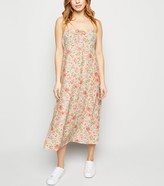 New Look Petite Floral Tie Front Midi Dress