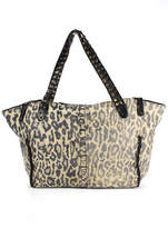 Be & D Brown Suede Animal Print Magnetic Popper 3 Pocket Tote Handbag