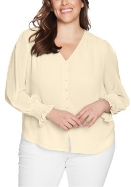 1 STATE Plus Size Sheer Long-Sleeve Top