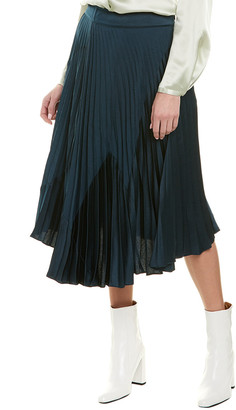 Vince Mixed Media Pleated A-Line Skirt