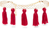 Kenneth Jay Lane Tasseled Gold-plated Choker - Red