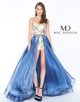 Mac Duggal 50476M Strapless Floral Romper with Chiffon Overskirt