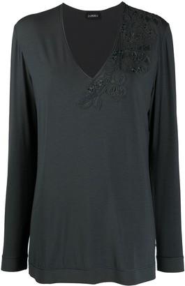 La Perla lace-trimmed long-sleeved T-shirt