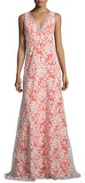Erin Fetherston Sleeveless V-Neck Gown W/Embroidered Lace Overlay, Ivory/Orange