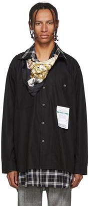 Miharayasuhiro Black Layered Scarf Shirt