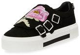 Alexander McQueen Flower-Embroidered Suede Monk Sneaker, Black/Multi