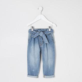 River Island Mini girls blue paperbag waist jeans