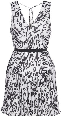 Self-Portrait Mini Dress Black And White Animal Print
