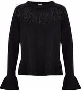 Cinq à Sept Ostrich Feather-Embellished Wool-Blend Sweater