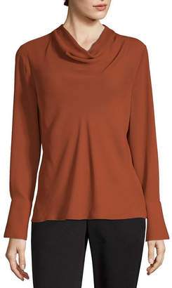WORTHINGTON Worthington Womens Cowl Neck Long Sleeve Blouse