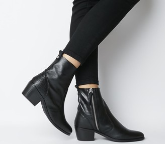 Office Aloe Unlined Casual Boots Black Leather Mix