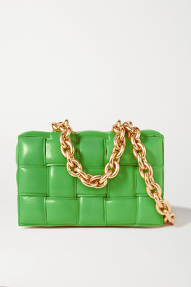 Bottega Veneta Cassette Chain-embellished Padded Intrecciato Leather Shoulder Bag - Green