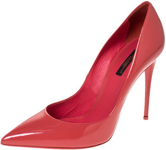 Dolce & Gabbana Coral Pink Patent Leather Pointed Toe Pumps Size 39