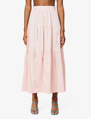 STAUD Sea tiered stretch-cotton maxi skirt