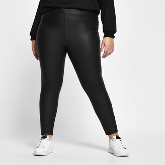 River Island Womens Plus Black high waist coated leggings