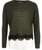 River Island Girls khaki lace trim slouch top