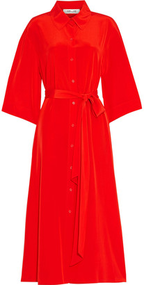 Diane von Furstenberg Belted Silk Crepe De Chine Midi Shirt Dress