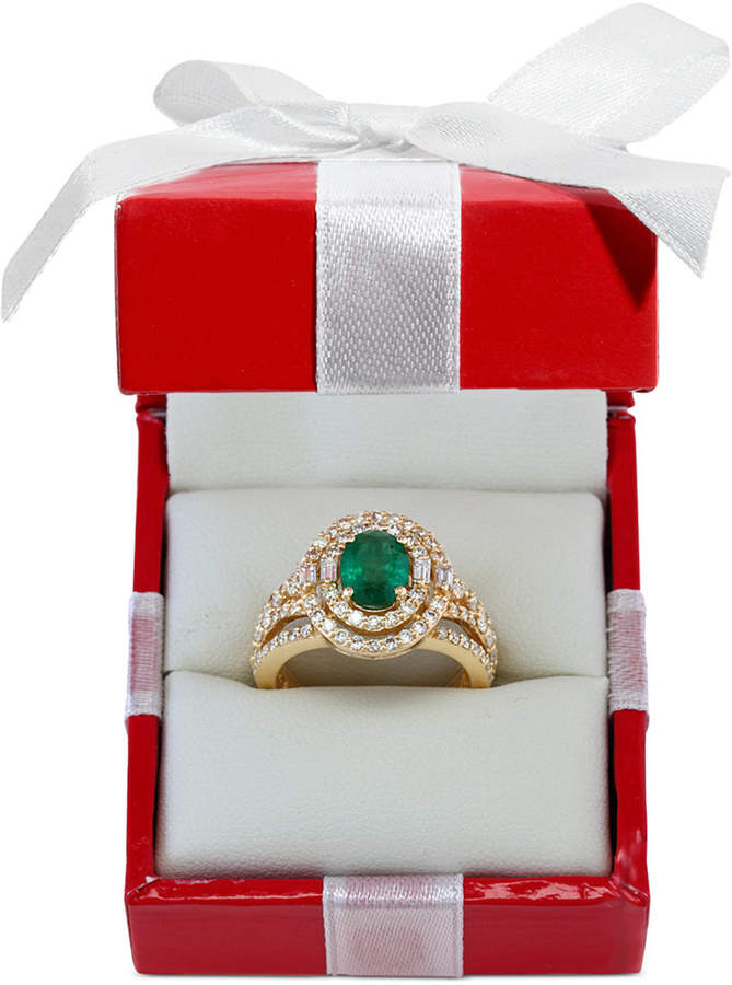 Effy Emerald (1-1/7 ct. t.w.) and Diamond (1-1/7 ct. t.w.) Ring in 14k Gold, Created for Macy's