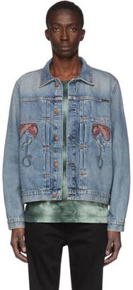 Nudie Jeans Blue Denim Vinny Flower Jacket