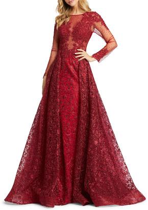 Mac Duggal Long-Sleeve Illusion Ball Gown
