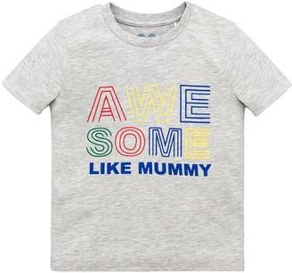 Very Boys Short Sleeve 'Awesome Like Mummy' T-shirt - Grey
