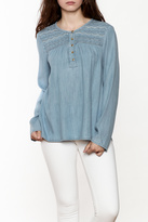 Sanctuary Quinn Denim Embroidered Yoke Top