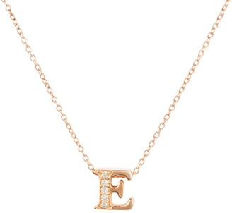 Latelita Diamond Initial Letter Pendant Necklace Rose Gold E