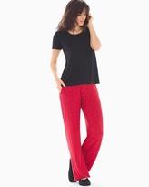 Soma Intimates Short Sleeve Pajama Set Festive Dot Black