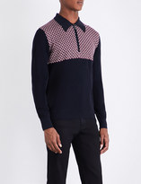 Brioni Checked wool and silk-blend knitted polo top