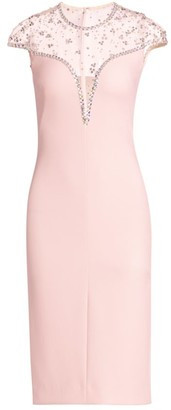Jenny Packham Embellished Illusion-Top Cocktail Dress