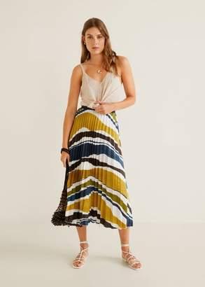 MANGO Satin pleated skirt