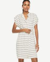Ann Taylor Stripe Short Sleeve Belted Shirtdress