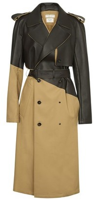Bottega Veneta Asymmetric trenchcoat in gabardine and leather