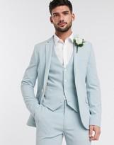 Asos Design DESIGN wedding super skinny suit jacket in pastel blue