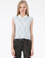 Band Of Outsiders Denim Lattice Sleeveless Shirt