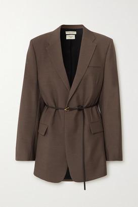 Bottega Veneta Oversized Belted Melange Wool Blazer - Brown