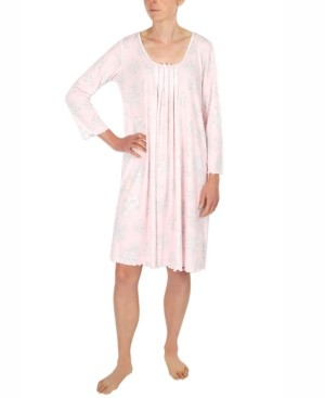 Miss Elaine Etched Floral Short Knit Nightgown