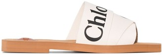 Chloé Woody logo strap slides