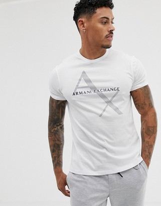 Armani Exchange large text logo t-shirt in white