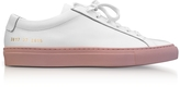 Common Projects White Leather Achilles Low Top Men's Sneakers w/Blush Rubber Sole
