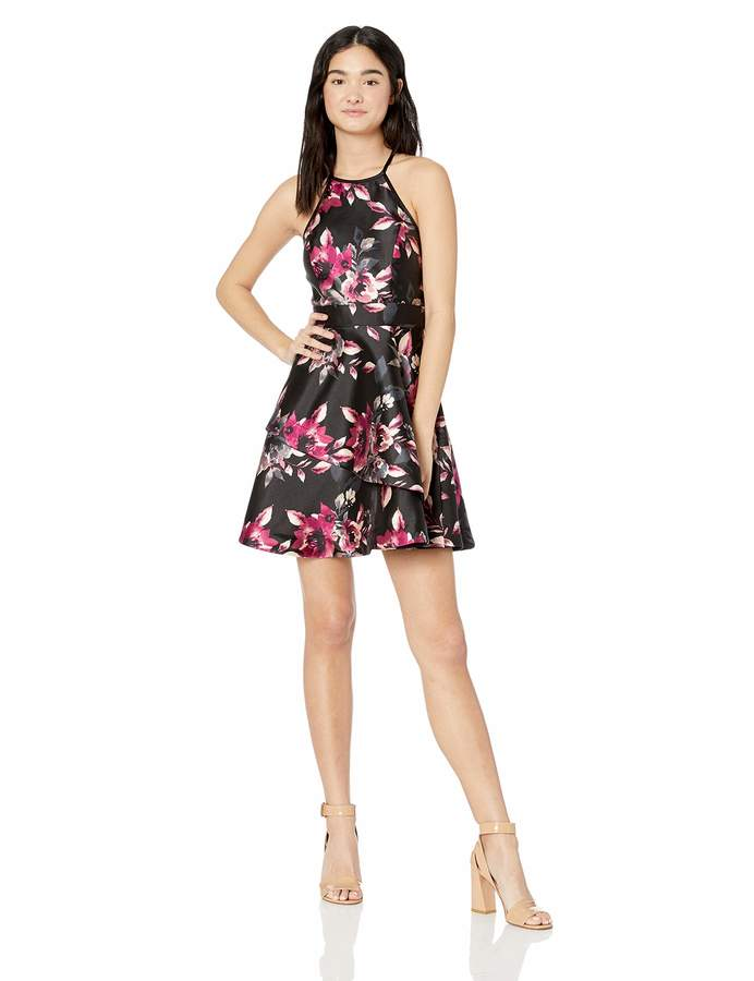 Speechless Junior's Womens Teen Fit & Flare Dress with Layered Skirt