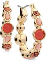 Nine West Gold-Tone Red Stone Hoop Earrings